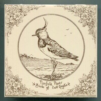 """Screen printed 6""""sq tile """"Norfolk Plover"""" by Pauline Clements, 1981"""
