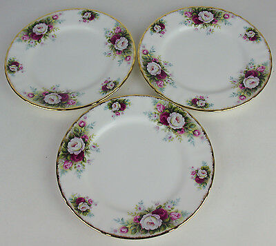 "3 x Dessert Plates 7 1/8"" Royal Albert Celebration roses vintage 1969 England"