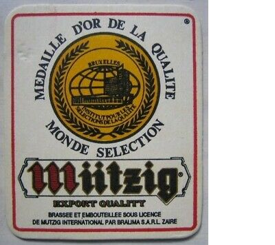 Posavasos Beer coaster Bierdeckel Mützig Democratic Republic of Congo