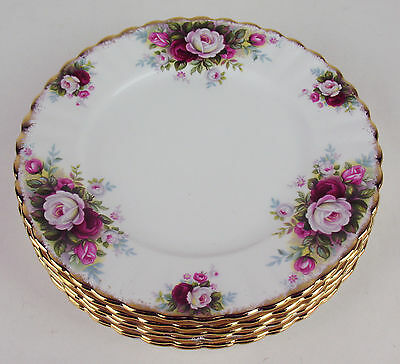 "6 Dessert Tea Plates 7 1/4"" Royal Albert Celebration roses vintage England 1970"