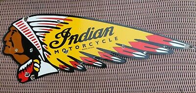 Vintage 1950'S Double Sided Indian Motorcycle Die Cut Porcelain Dealer Sign