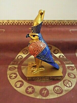 "Egyptian God Horus Falcon On Pedestal Statue 8"" Tall Bird"