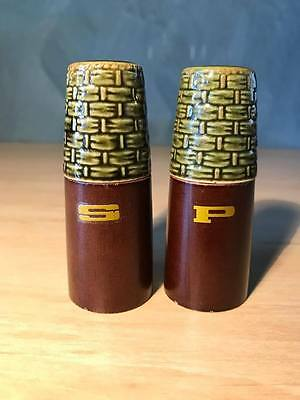 Vintage 1960's Salt and Pepper Shakers Wood & Green Ceramic Made in Japan retro