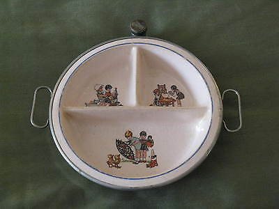 Vintage Excello Childs Food Warmer Divided Plate Metal Porcelain Hinged Handles