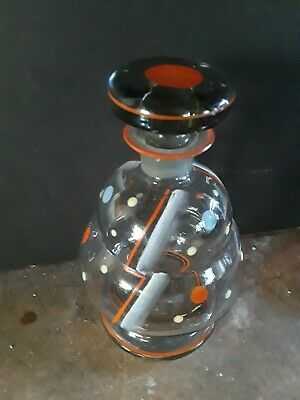 Bohemian Czech Glass Decanter Enameled Art Deco in Excellent Condition