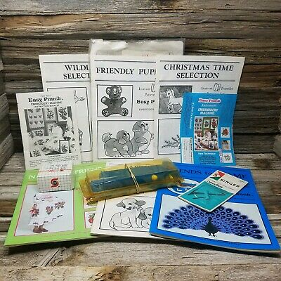 Vintage Easy Punch Embroidery Machine & Accessories w/Pattern Books, Power cord