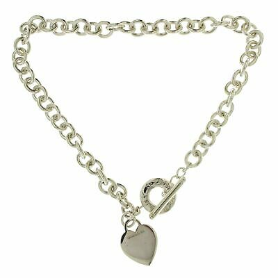"""Auth Tiffany & Co 925 Sterling Silver Heart Tag Link Necklace Size 15"""" »U22"""