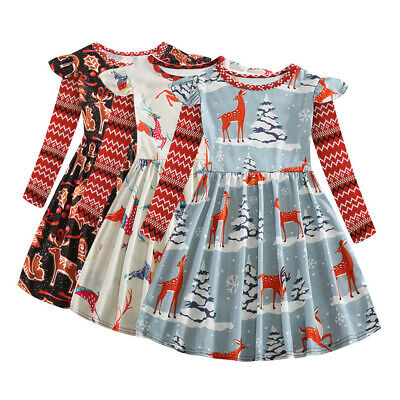 Toddler Kids Children Girls Christmas Animal Cartoon Deer Princess Dress Outfits