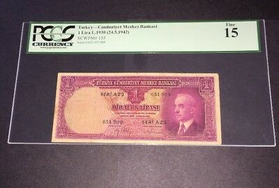 PCGS Currency Graded Turkey 1 Lira Banknote 1942 P135