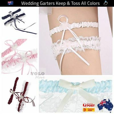Bride Lace Wedding Garters Pearl Stretch Prom Garter With Keep & Toss Away AUS