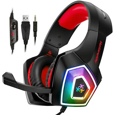 Hunterspider Stereo Bass Surround Gaming Headset for PS4 Switch Xbox One PC Mic