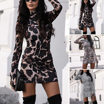 Womens Sexy Long Sleeve Turtleneck Leopard Mini Dress Bodycon Party Prom Dresses