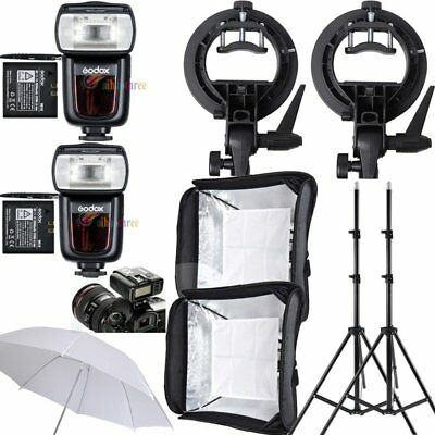 2Pcs Godox V850II 2.4G HSS 1/8000s Flash Speedlite + Softbox + Stand + Trigger