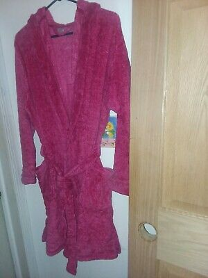 Ulta Beauty womens hooded plush robe new knee length pockets pink L/XL