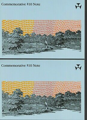 Unc. Consecutive Pair $10 Polymer Banknotes Johnston/Fraser R-310b with Folder