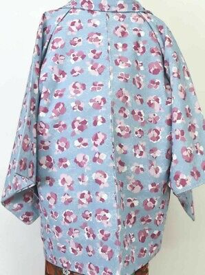 SALE Vintage Japanese Ladies' Blue 'Pink Pansies' Crepe Kimono Haori Jacket 8-12