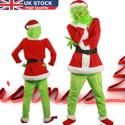 Santa Grinch Adult Cosplay Costume How the Stole Christmas Outfits Mask Gifts C