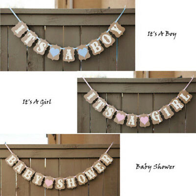 Personalized Baby Shower Banner boy girl pink/blue lilac decorations bunting HA2