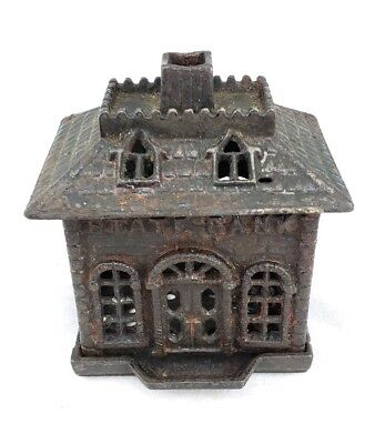 Antique Cast Iron Penny Still State Bank Building Detailed Roof Unusual Kenton