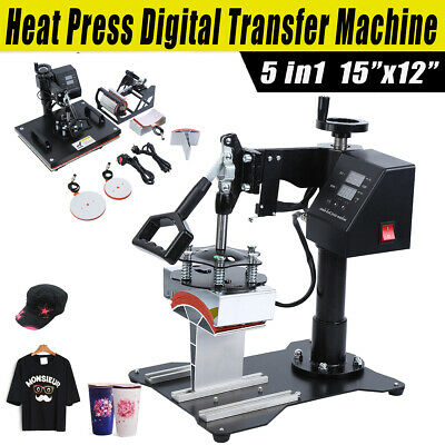 "Ridgeyard 15x12"" 5in1 Heat Press Machine Transfer T-Shirt Cap Mug Plate Printer"