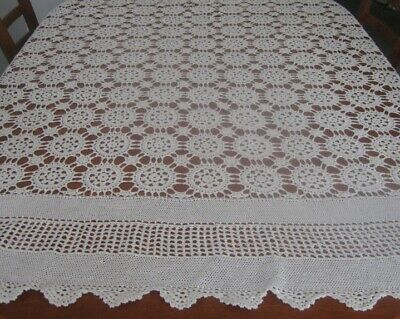 Large Vintage Crocheted Lace Tablecloth ~ Cream ~ Cotton ~ Oblong