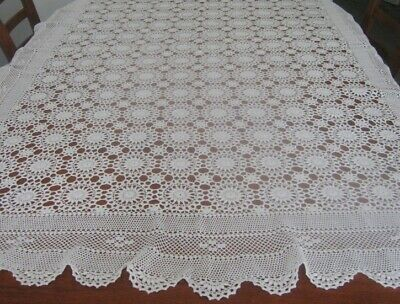 Vintage Crocheted Lace Tablecloth ~ White ~ Cotton ~ Oblong