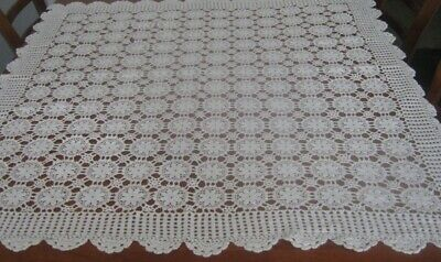 Vintage Crocheted Lace Tablecloth ~ Cream ~ Cotton ~ Square