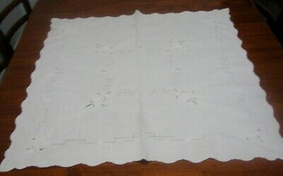 Vintage Embroidered Supper Cloth ~ White ~ Cotton ~ Square
