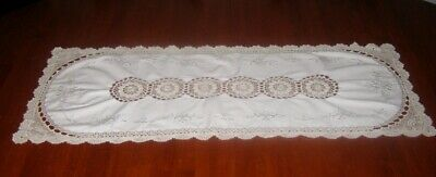 Vintage Embroidered + Crocheted Lace Table Runner ~ Cotton ~ Light Beige
