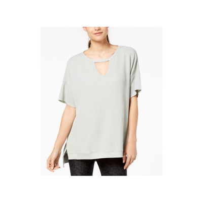 Calvin Klein Womens Performance Keyhole Top Silver Jade Size Small