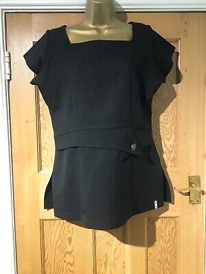 Florence Roby Tunic Size 12 Black Short Sleeves