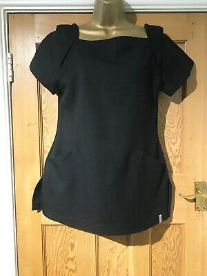 Florence Roby Tunic Size 12 Black Short Sleeves Zip To The Back
