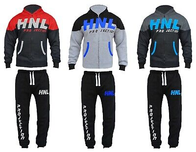 Kids HNL Boys Contrast Colour Block Hooded Joggers Tracksuit Bottoms Size