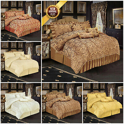 Luxury Jacquard Quilted Bedspread Comforter Throw Bedding Set Double & King Size
