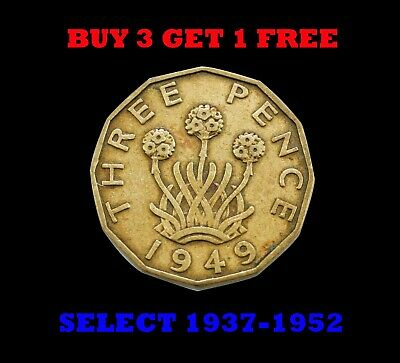 Brass Threepence 3d (thruppence) Coins 1937-1952 (BUY 3 GET 1 FREE) Select Years