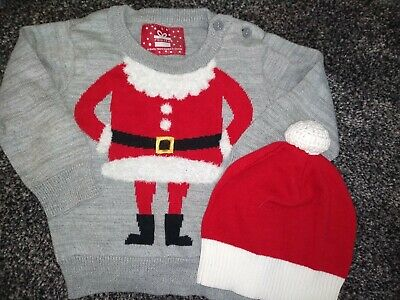Baby boys Christmas Santa jumper & hat 6-9 months excellent condition