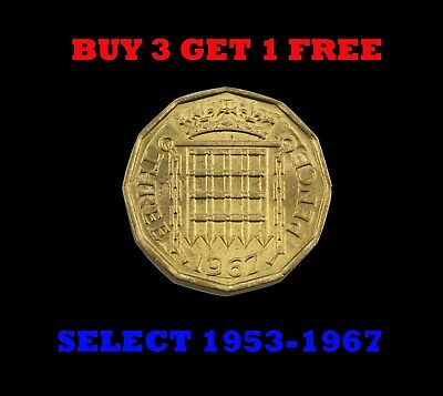 Brass Threepence 3d (thruppence) Coins 1953-1967 (BUY 3 GET 1 FREE) Select Years
