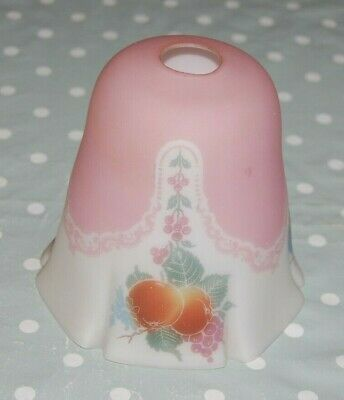Antique, Vintage Pale Pink & White Fruit Decorated Frosted Glass Lampshade.