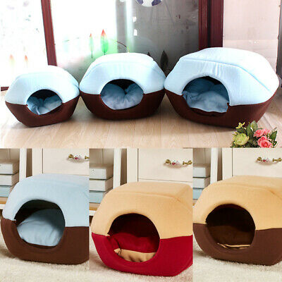 Cat Dog Bed House Foldable Soft Pad Warm Animal Puppy Cave Winter Sleeping Mat