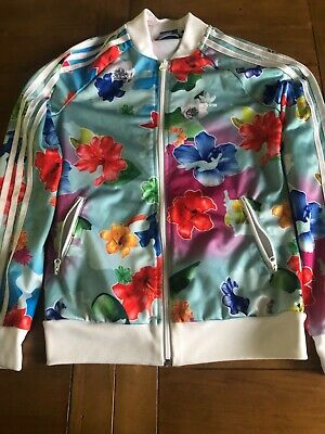 Girls Floral 12-13 Years Adidas Originals Tracksuit Top/Zipped Up Jacket