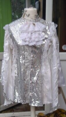 Pantomime Principal Boy Tunic Finale Or Prince In White Satin With Sequin/Lace T