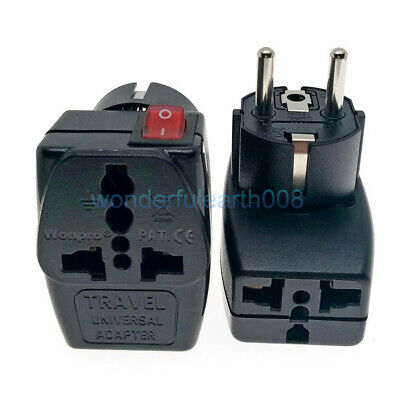 2 IN 1 - Universal To EU Schuko Plug Adapter W/ LED Main Switch AC100~250V 16A