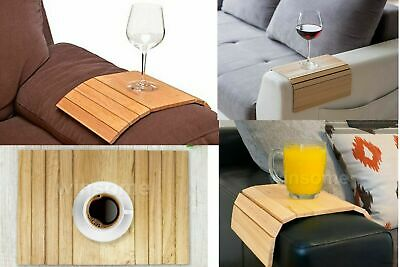 Flexible Sofa Arm Chair Wooden Tray Media Snack Serving Tray Arm Rest Organiser