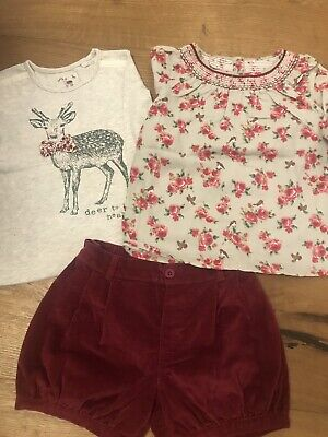 Girls Mothercare Outfit, Top, Blouse, Shorts Size 4-5