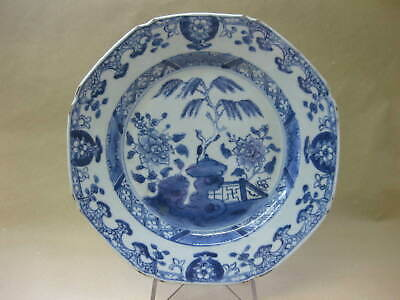 Antique Chinese Porcelain Plate ~ Octagonal ~ Blue & White ~ Willow / Fence