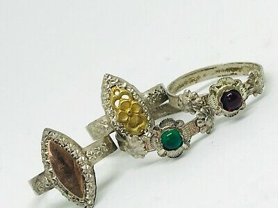 Antique art nouveau french silver and gold rings joblot jewellery