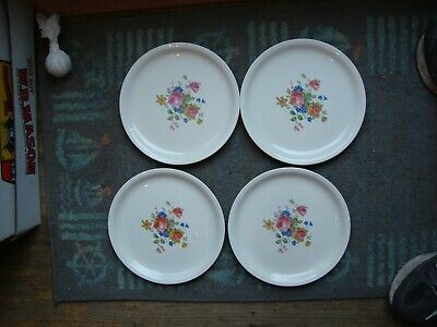 """4 UNUSED Homer Laughlin Debutante Floral Bouquet Roses Disct. 9"""" Luncheon Plates"""