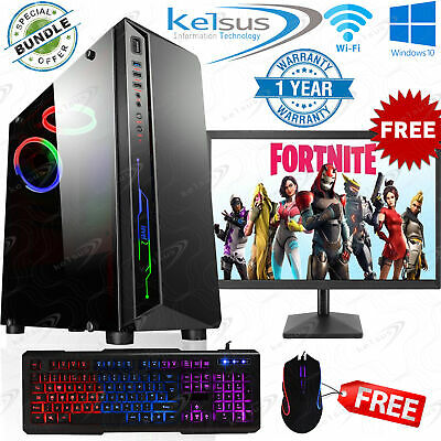 Fast Gaming PC Computer Bundle Quad Core i5 8GB 1TB Windows 10 Nvidia GT710 2GB
