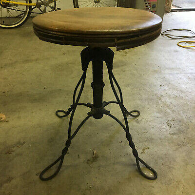 Antique Vintage Metal Wire Wood Piano Swivel Chair Bench Seat Stool Victorian
