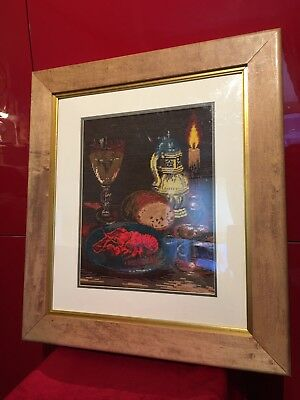 "Goblin Tapestry ""Homelessman's Dinner"" DMC Stiches, Viller With Frame"